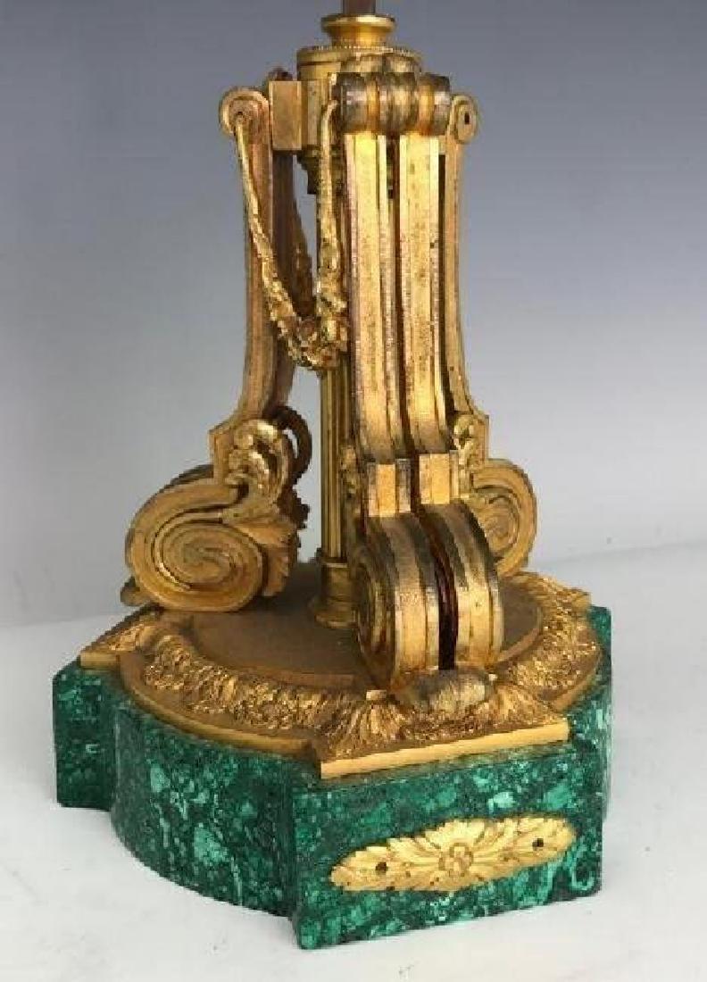 19TH C. ORMOLU MOUNTED MALACHITE LAMP - 2