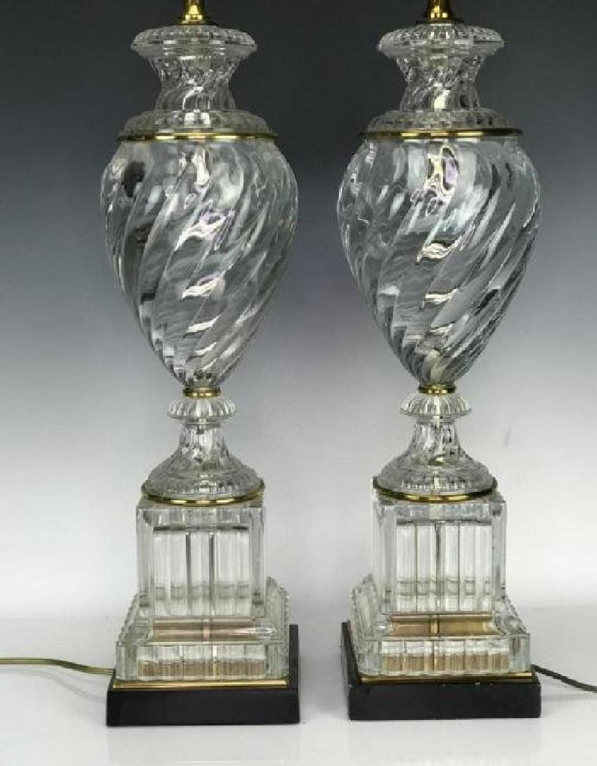 PAIR OF SWIRL BACCARAT GLASS STYLE LAMPS