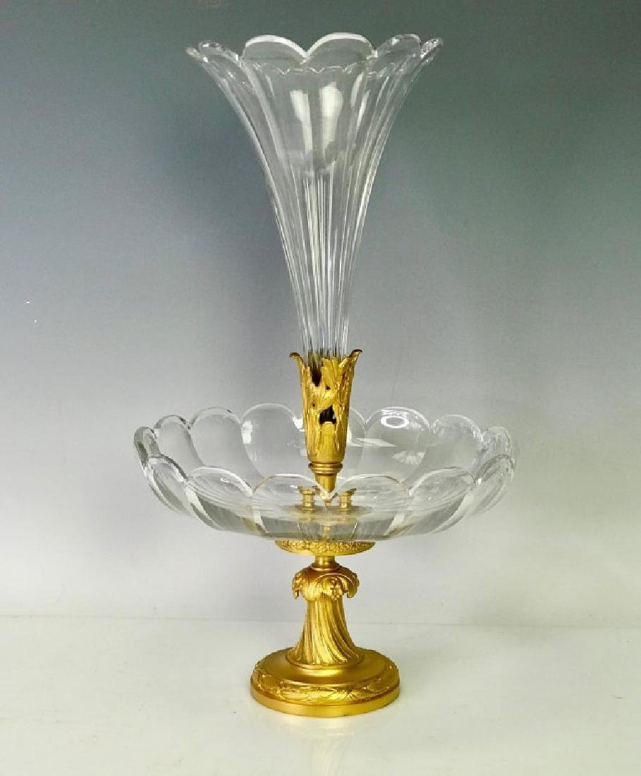 19TH C. DORE BRONZE & SIGNED BACCARAT CENTERPIECE