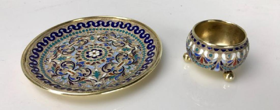 19TH C. RUSSIAN ENAMEL SALT AND MATCHING PLATE