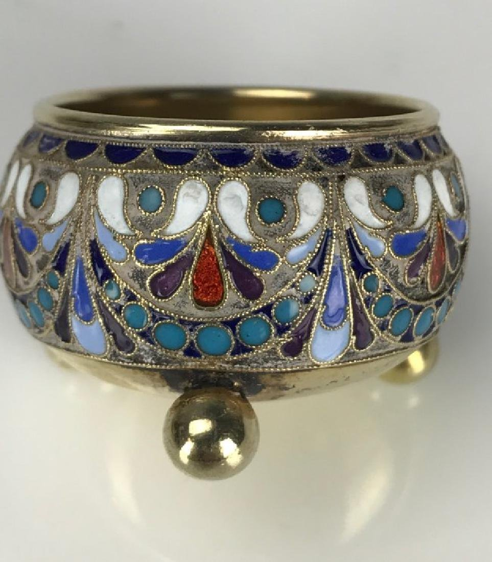 19TH C. RUSSIAN ENAMEL SALT AND MATCHING PLATE - 3