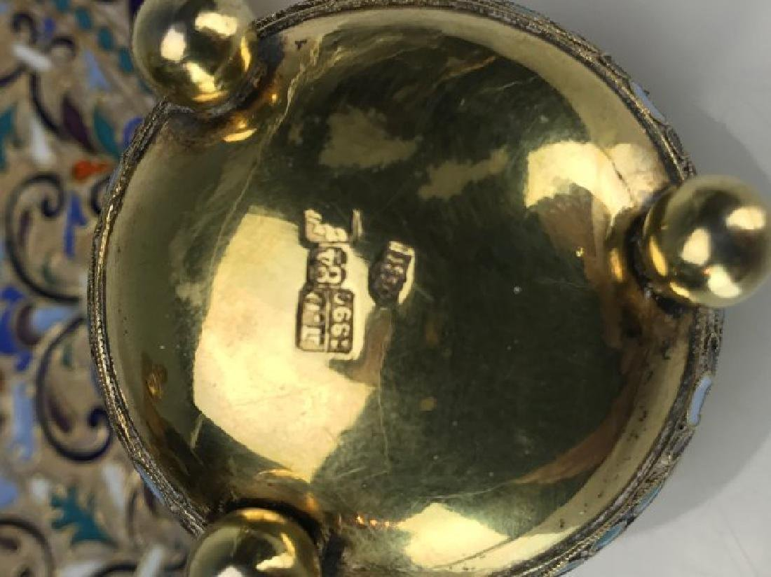 19TH C. RUSSIAN ENAMEL SALT AND MATCHING PLATE - 4