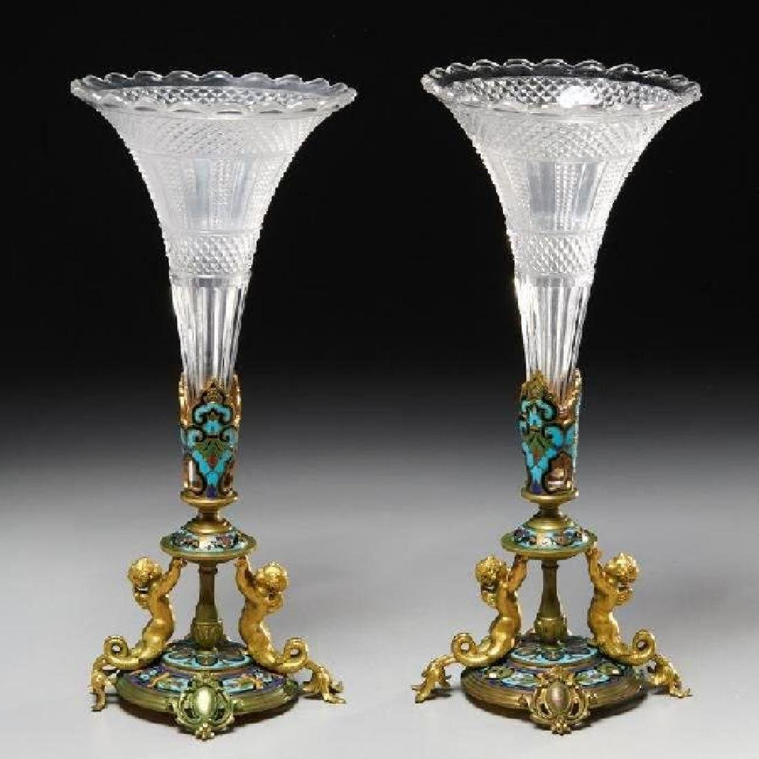 19TH C. CHAMPLEVE ENAMEL AND BACCARAT STYLE GLASS VASES
