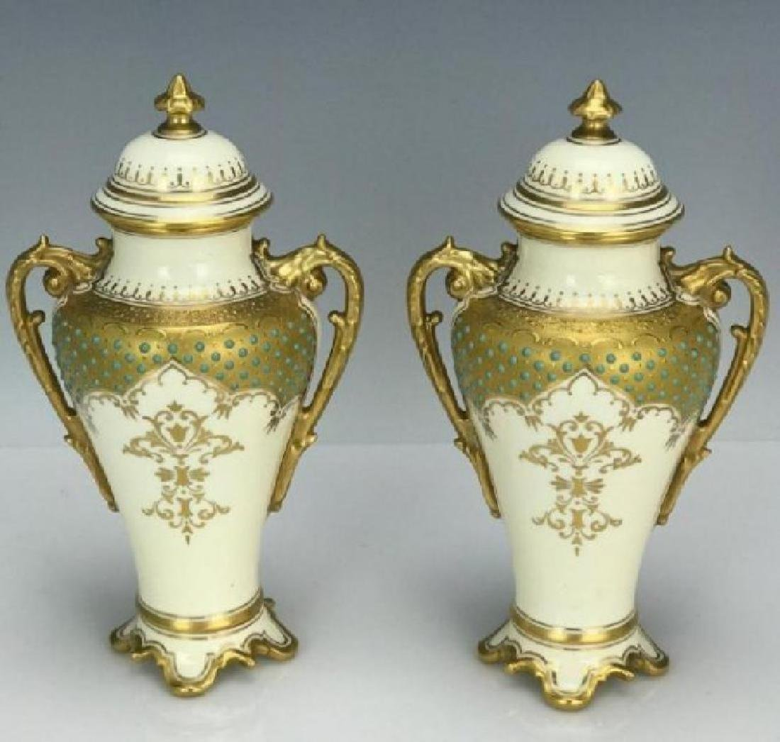 A PAIR OF JEWELED COALPORT VASES AND COVERS - 2