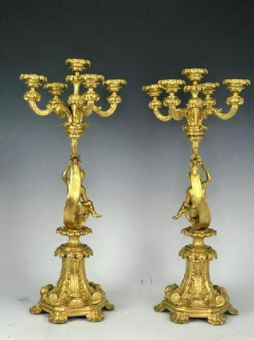 A LARGE PAIR OF DORE BRONZE FIGURAL CANDELABRA - 2