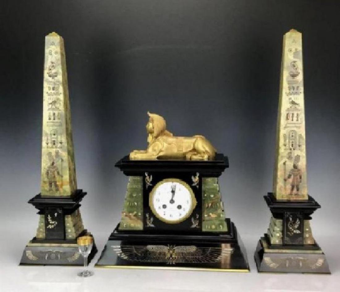 19TH C. FRENCH EGYPTIAN REVIVAL CLOCK SET