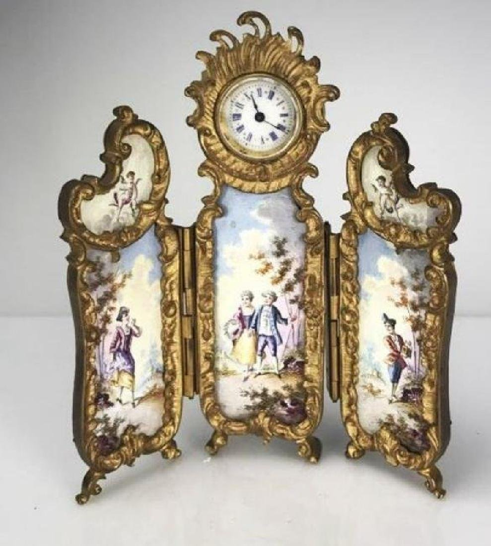 A VIENNESE ENAMEL 3 PANEL CLOCK