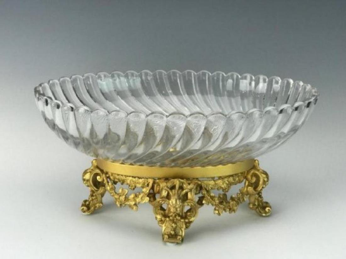 OVAL ORMOLU AND SIGNED BACCARAT CENTERPIECE