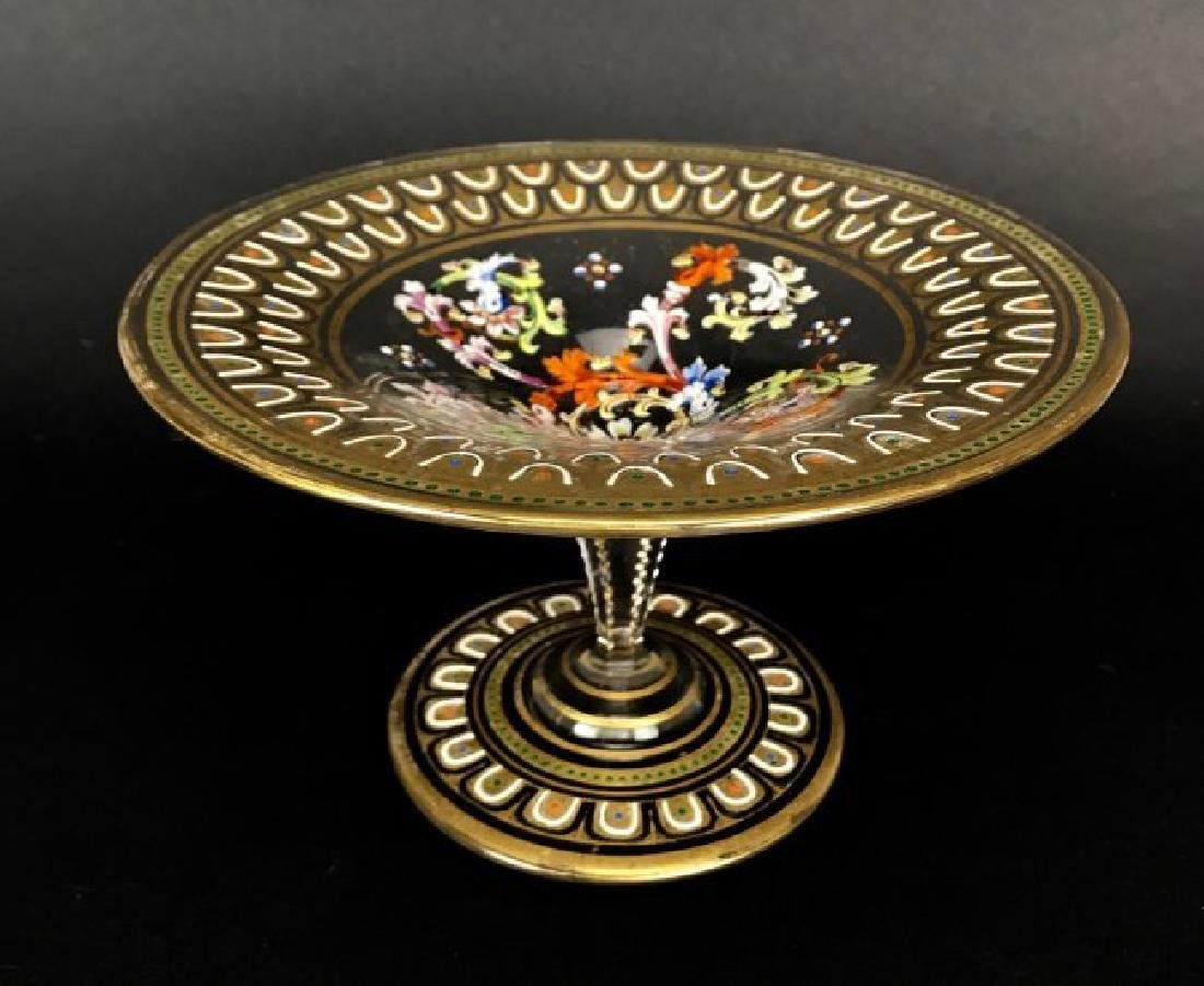 19TH C. LOBMYER / MOSER ENAMELLED CAKE STAND