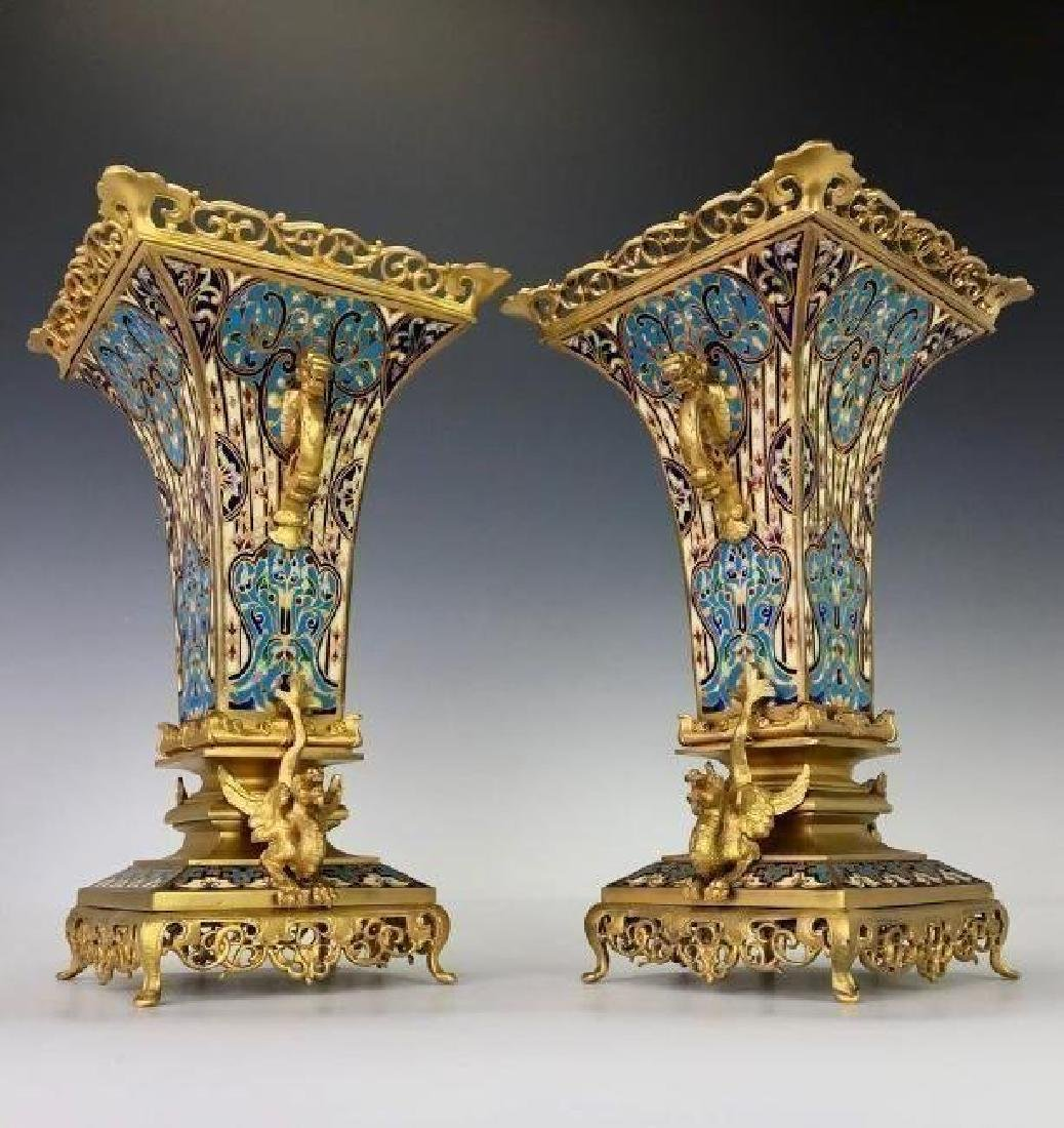 SUPERB PAIR OF FRENCH CHAMPLEVE ENAMEL VASES