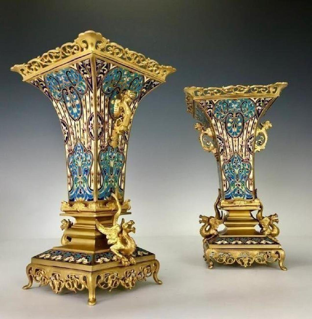 SUPERB PAIR OF FRENCH CHAMPLEVE ENAMEL VASES - 2