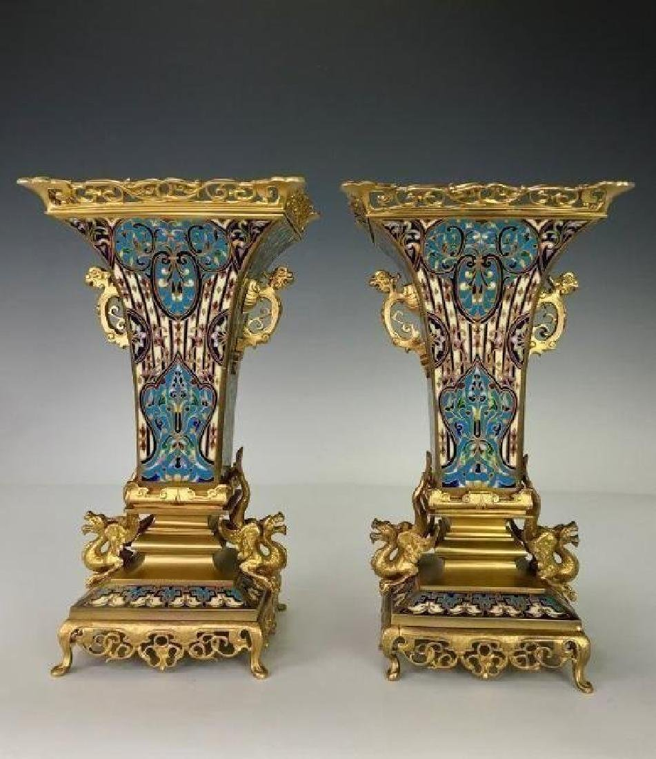 SUPERB PAIR OF FRENCH CHAMPLEVE ENAMEL VASES - 3