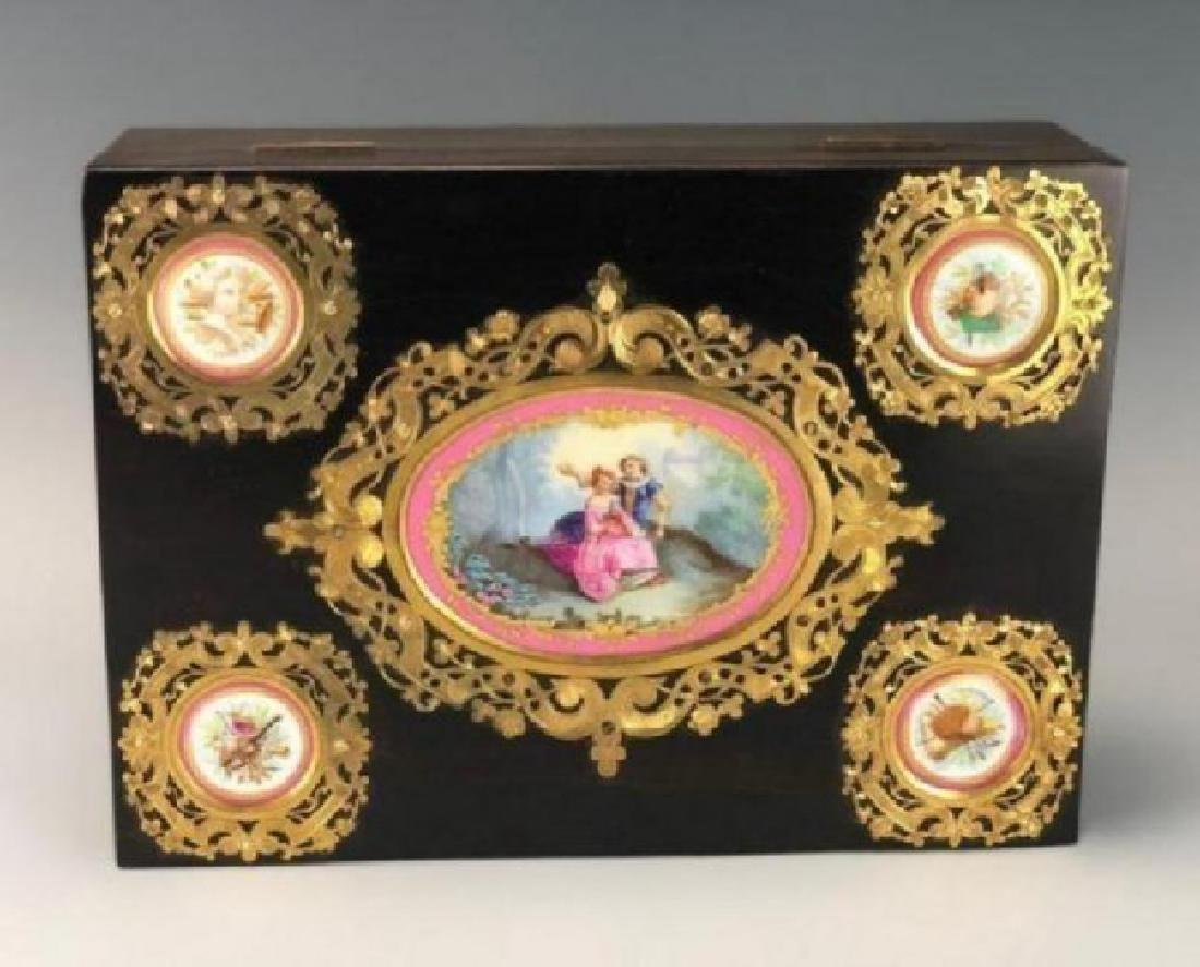 SEVRES AND ORMOLU MOUNTED JEWLRY BOX CIRCA 1900