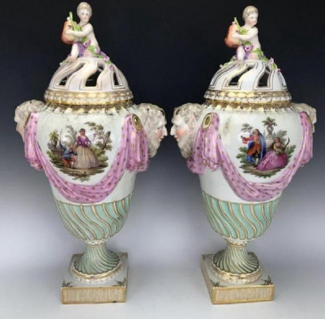A LARGE PAIR OF 19TH C. ROYAL VIENNA VASES AND COVERS