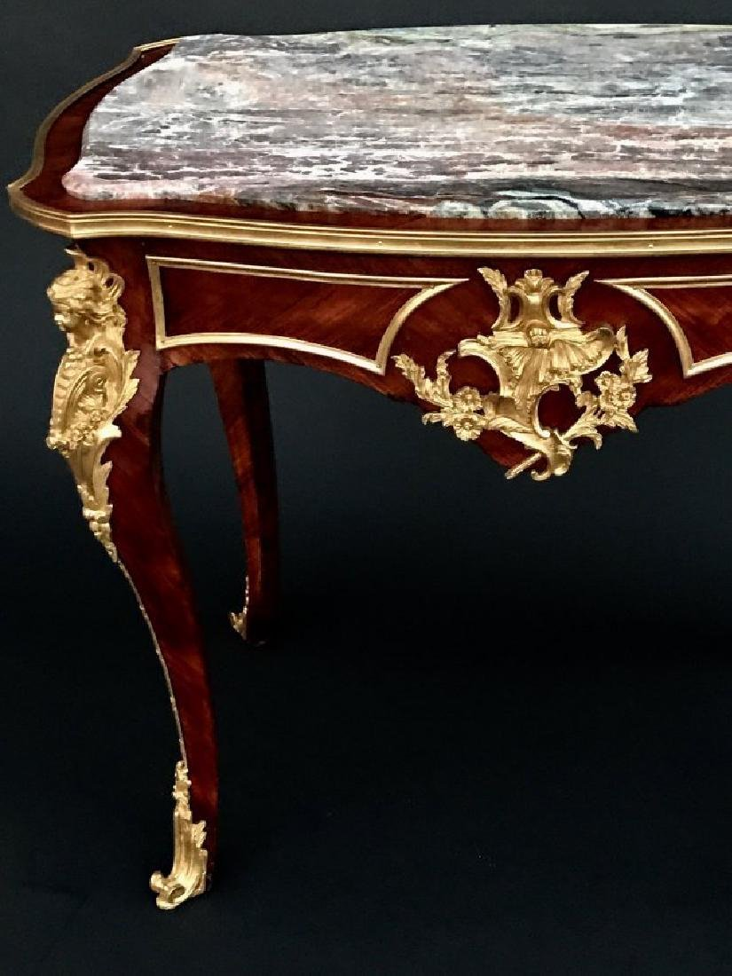 LOUIS XV STYLE ORMOLU MOUNTED MARBLE TOP TABLE - 4