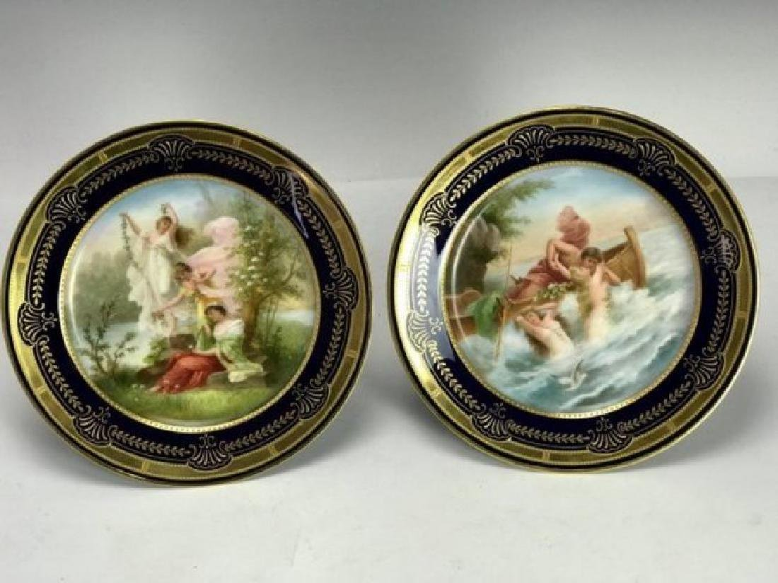 PAIR OF ROYAL VIENNA FOOTED CAKE STANDS CIRCA 1900