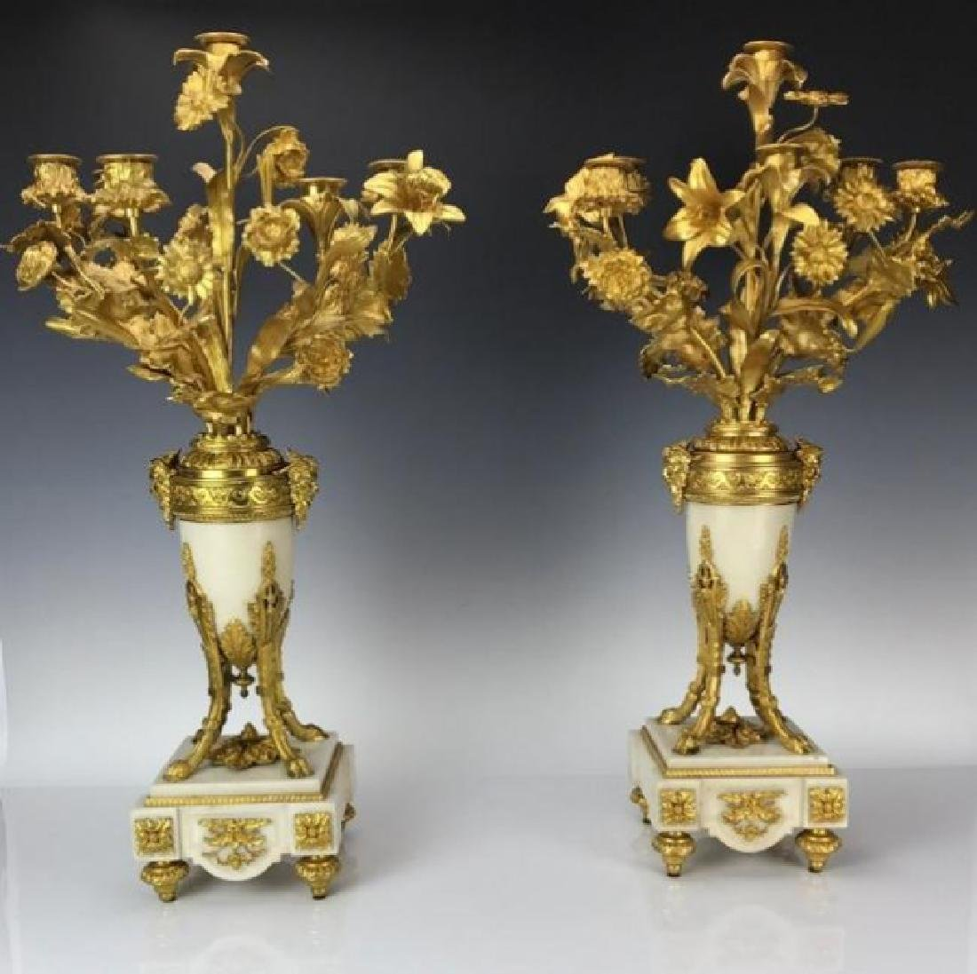 LARGE PAIR OF ORMOLU AND MARBLE CANDELABRA