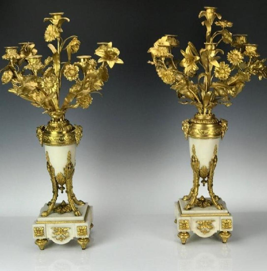 LARGE PAIR OF ORMOLU AND MARBLE CANDELABRA - 4
