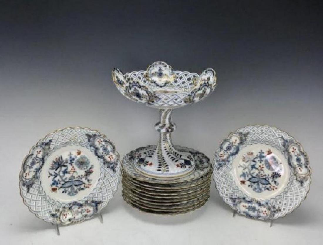 19TH C. RETICULATED MEISSEN DESSERT SET