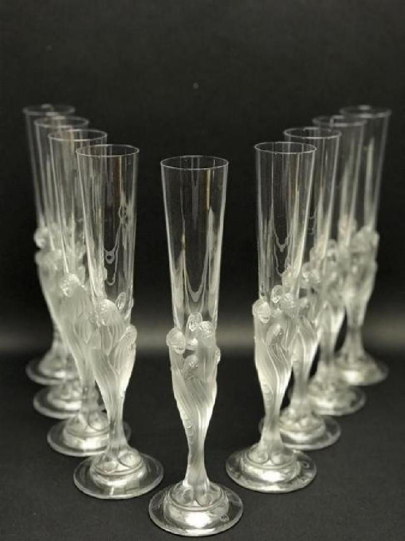 SET OF 9 ERTE CHAMPAGNE FLUTES