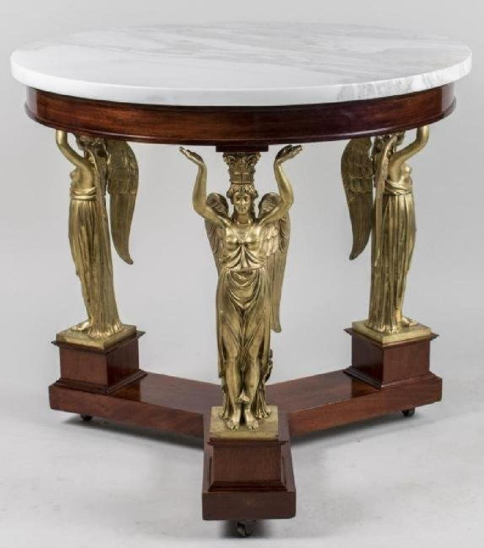 FRENCH EMPIRE STYLE ORMOLU MOUNTED MARBLE TOP TABLE