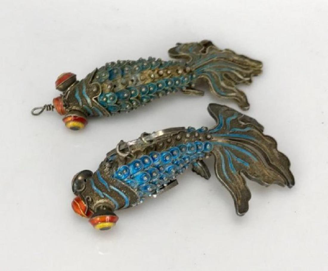 PAIR OF CHINESE SILVER AND ENAMEL FISH