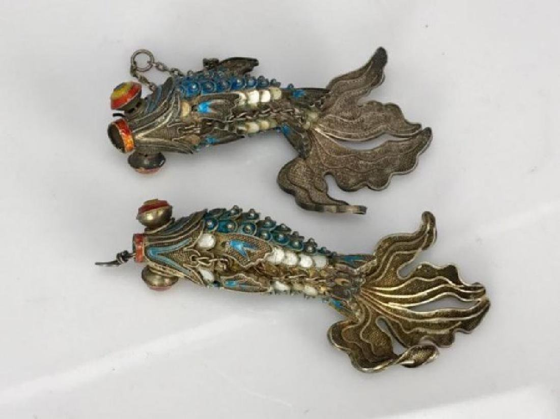PAIR OF CHINESE SILVER AND ENAMEL FISH - 2