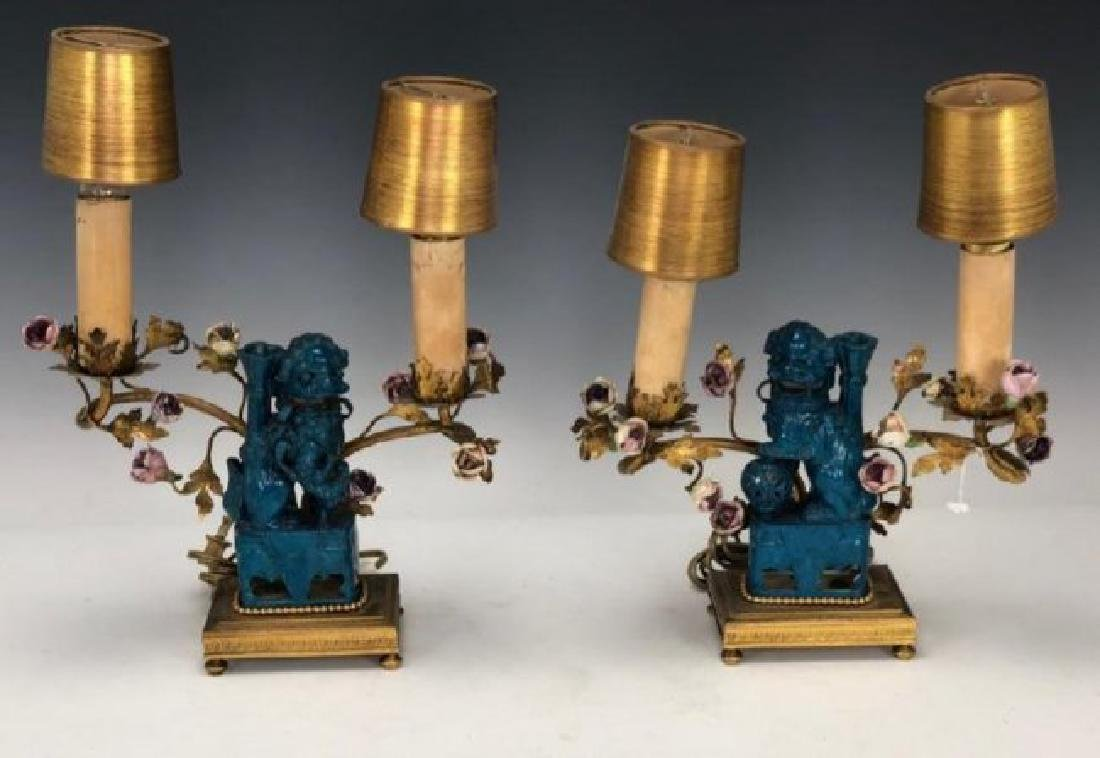 PAIR OF CHINESE PORCELAIN FOODOG AND DORE BRONZE CANDEl