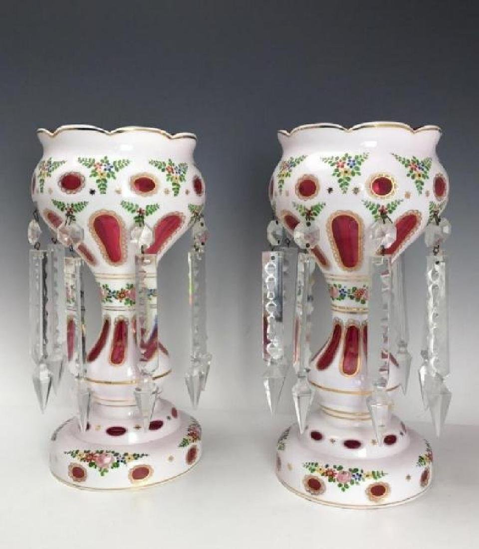 PAIR OF BOHEMIAN GLASS LUSTERS