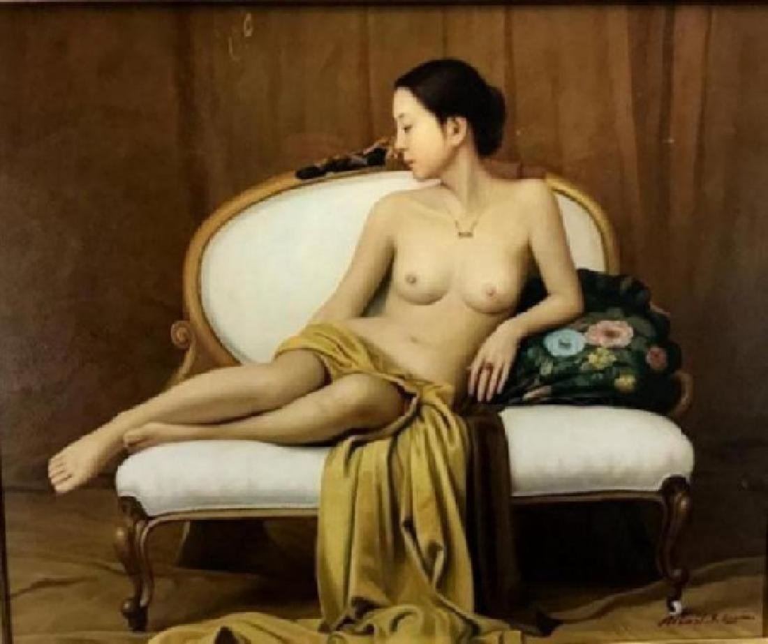 A LARGE CHINESE OIL ON CANVAS PAINTING