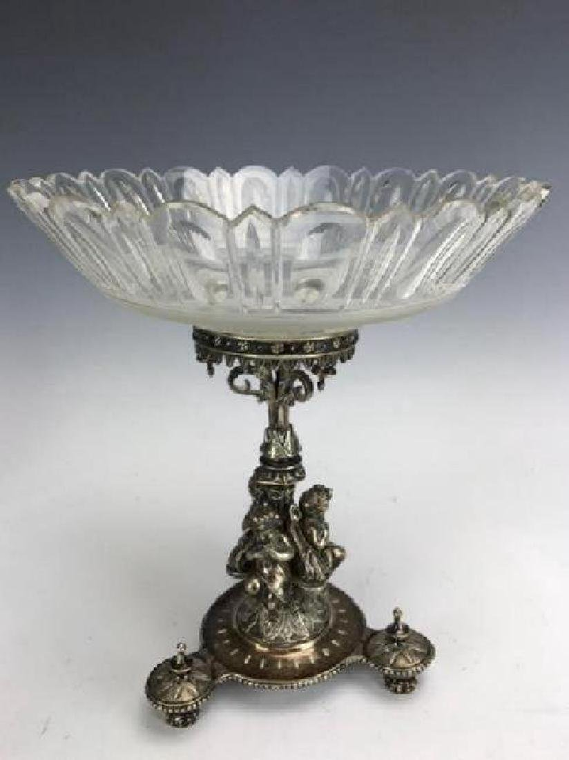 19TH C. SILVER PLATED AND BACCARAT GLASS CENTERPIECE