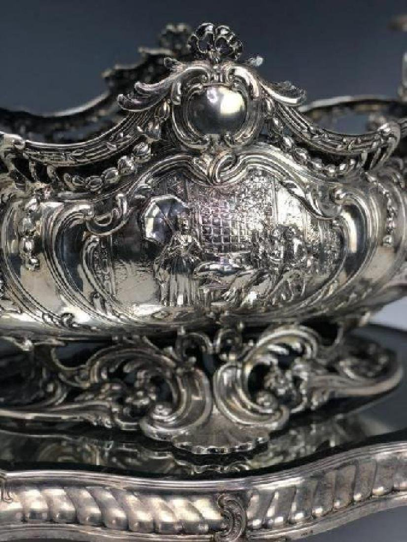 A LARGE STERLING SILVER CENTERPIECE & SILVER PLATEAU - 3