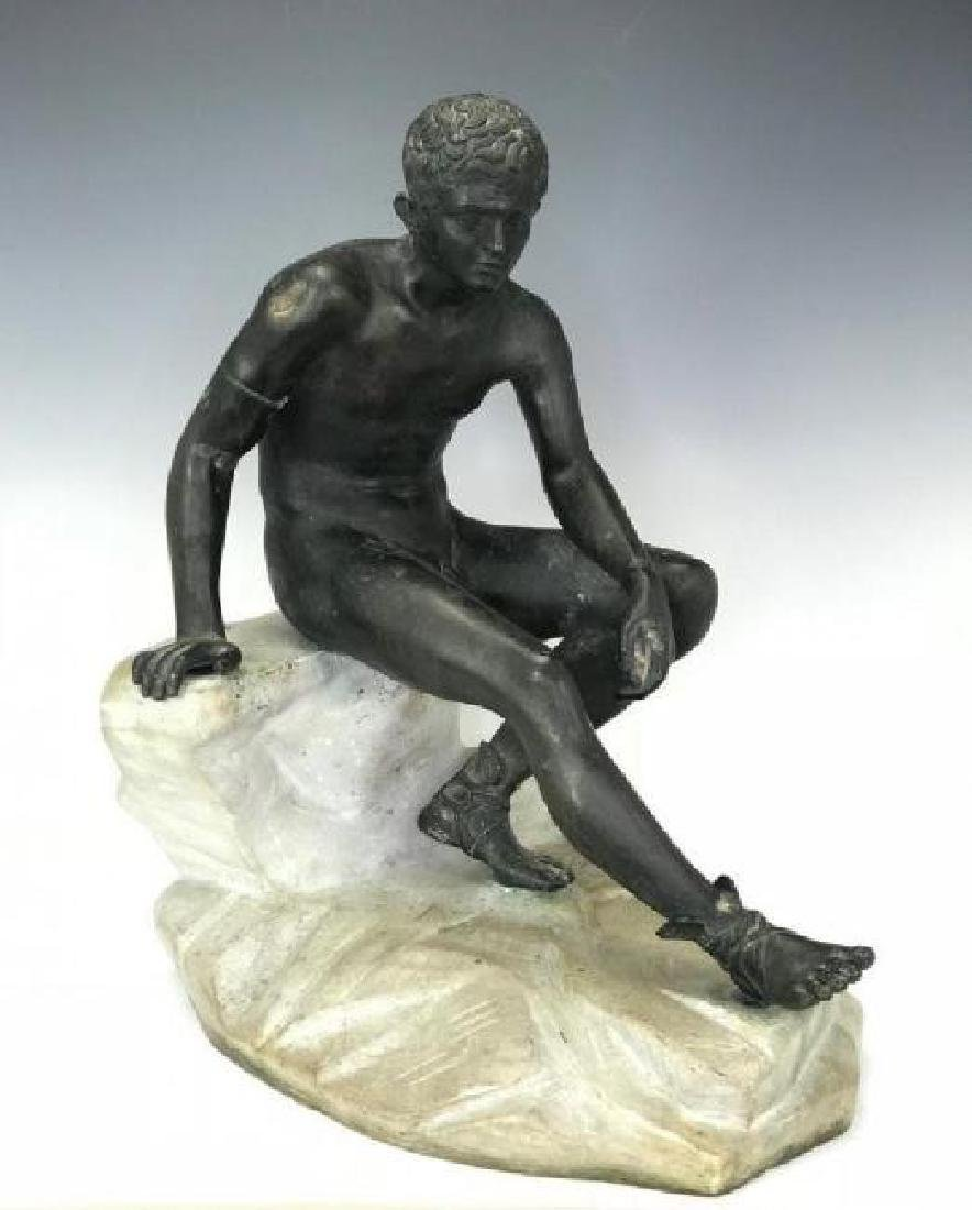 A LARGE BRONZE AND MARBLE SCULPTURE