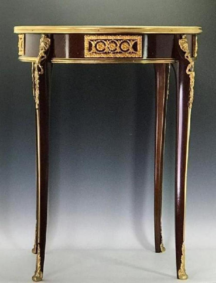 LOUIS XV STYLE FRENCH ORMOLU MOUNTED MARQUETRY TABLE