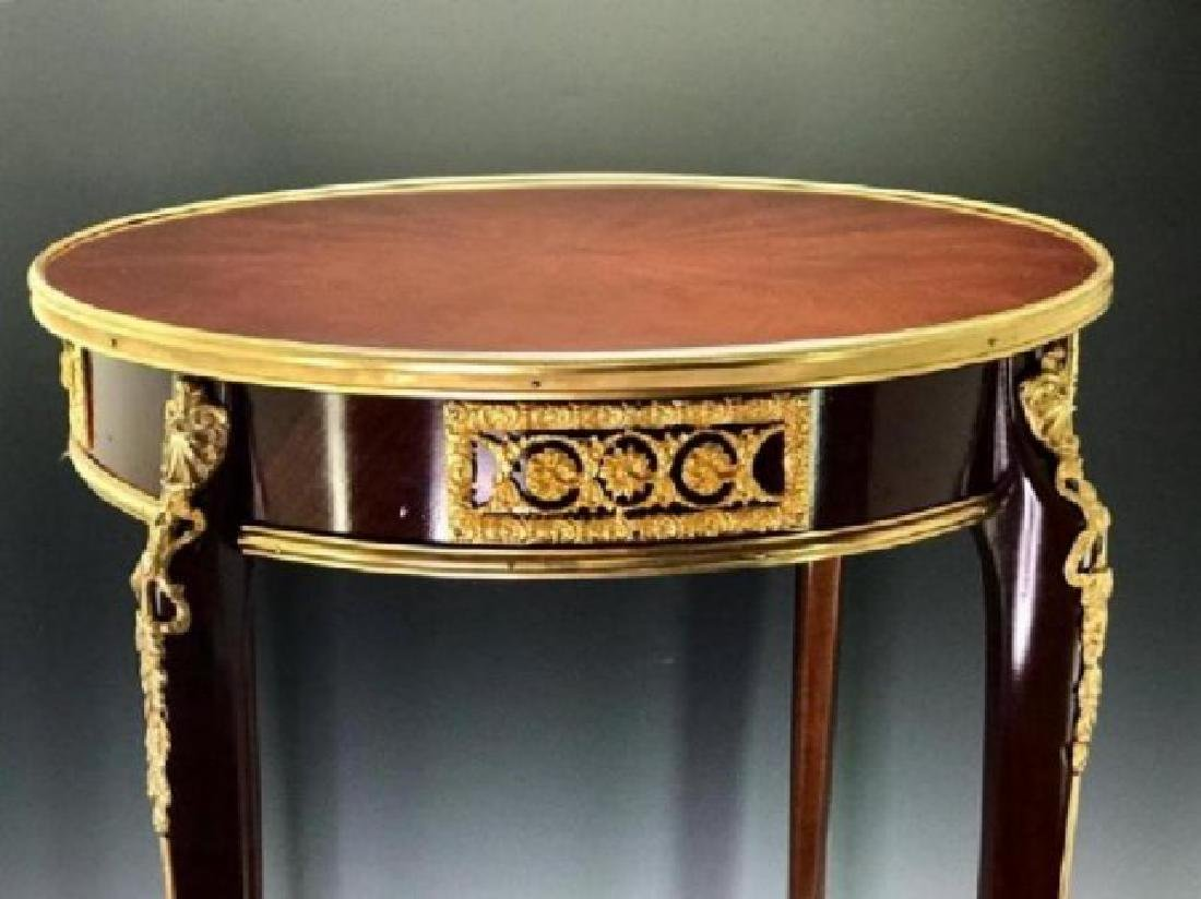 LOUIS XV STYLE FRENCH ORMOLU MOUNTED MARQUETRY TABLE - 2