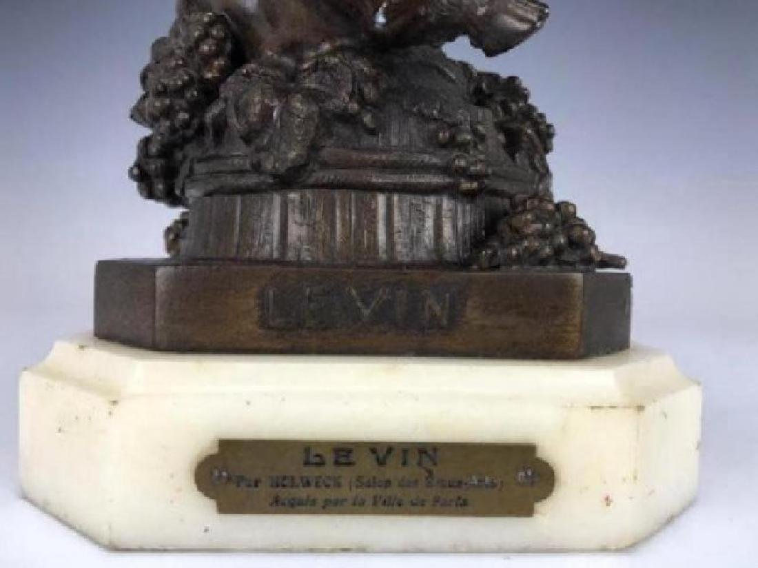 VERY RARE 19TH C. PATINATED BRONZE SCULPTURE OF LEVIN - 4