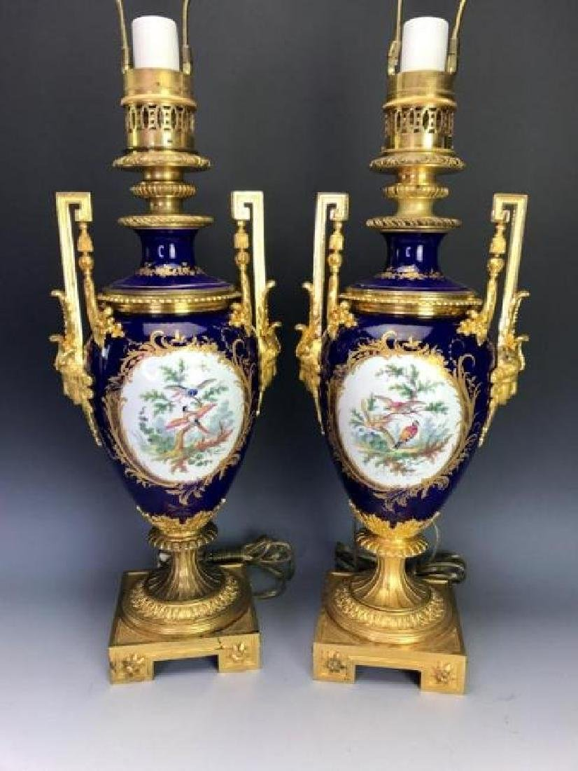 SUPERB PAIR OF ORMOLU MOUNTED SEVRES PORCLAIN LAMPS - 2