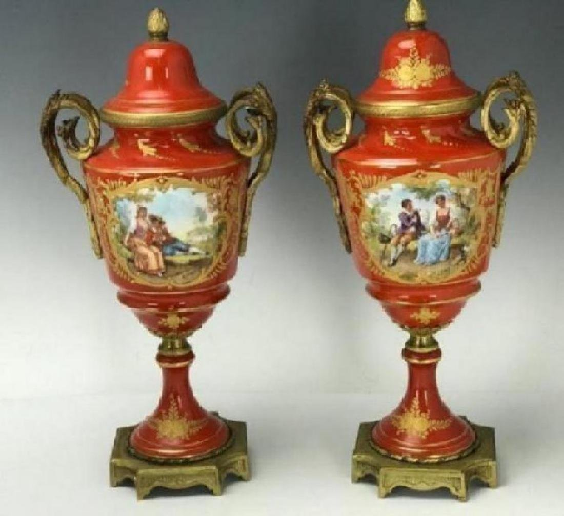 ANTIQUE SEVRES STYLE ORMOLU MOUNTED PORCELAIN GARNITURE - 2