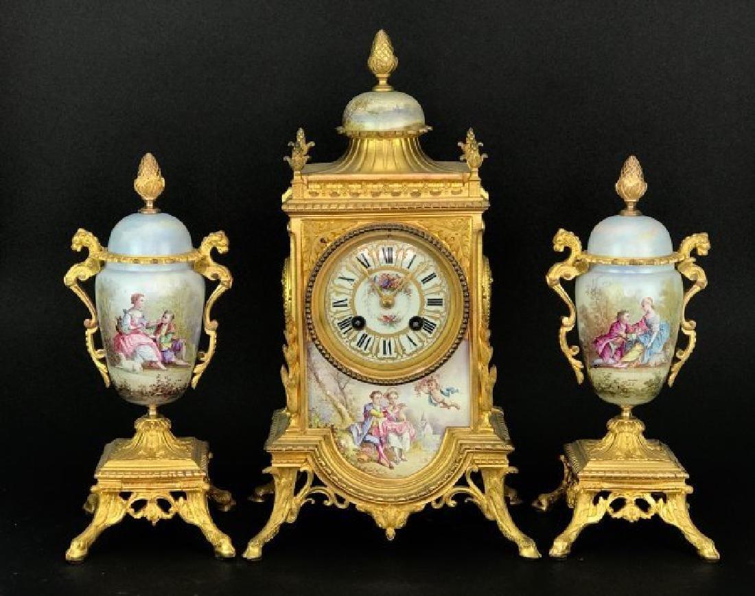 19TH C. DORE BRONZE AND SEVRES PORCELAIN CLOCK SET
