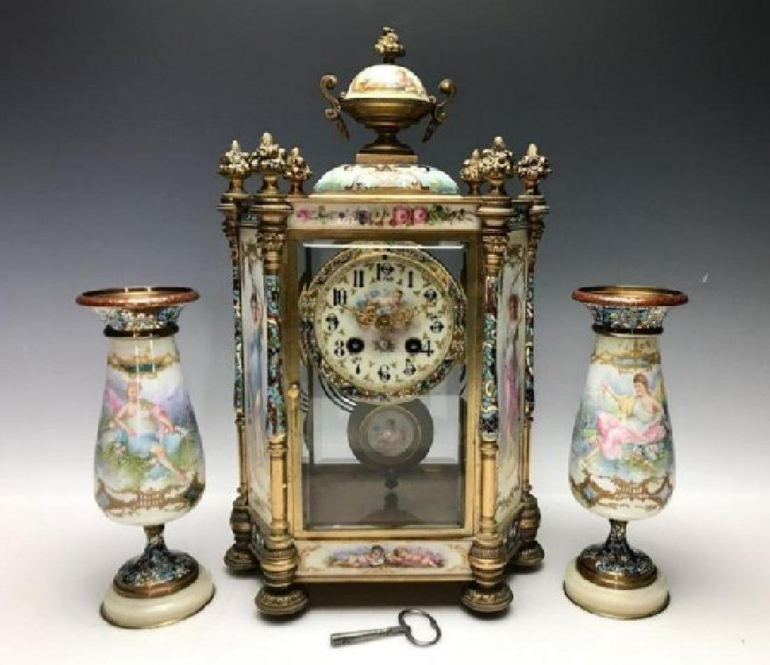 19TH C. FRENCH CHAMPLEVE ENAMEL & SEVRES CLOCK SET