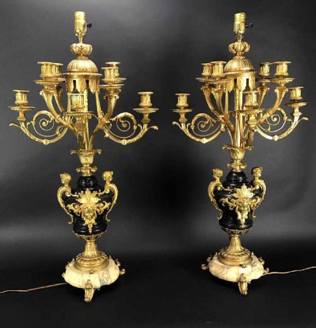 PALATIAL PAIR OF DORE BRONZE AND MARBLE CANDELARA