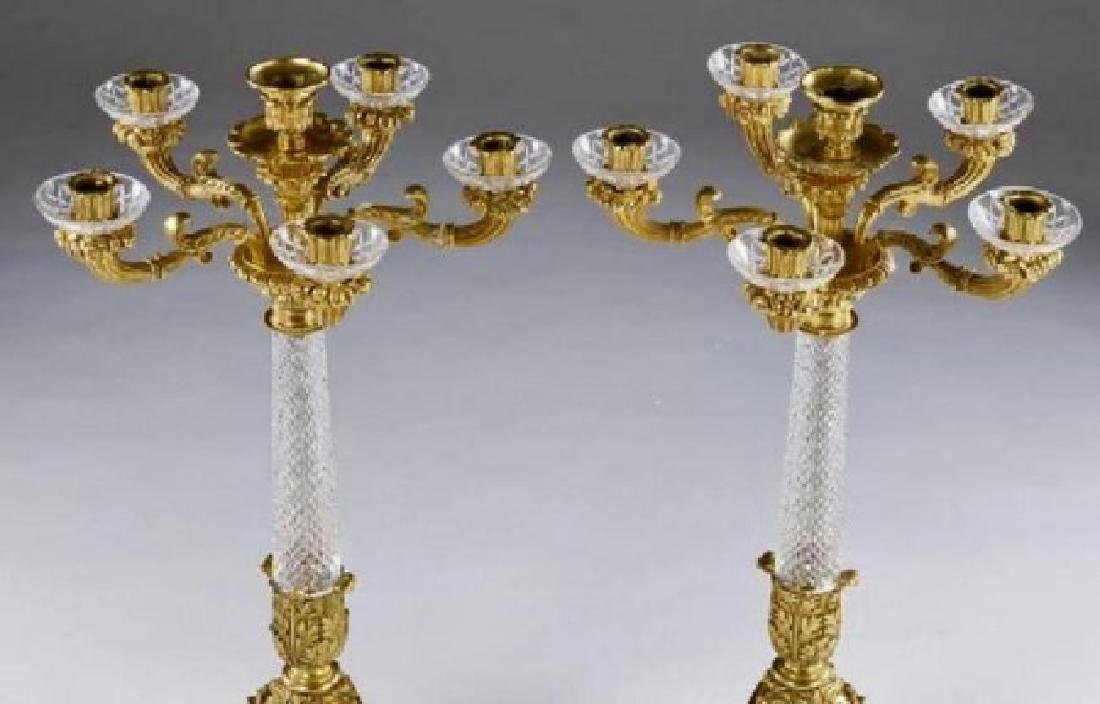 A PAIR OF DORE BRONZE AND BACCARAT CRYSTAL CANDELABRA - 2
