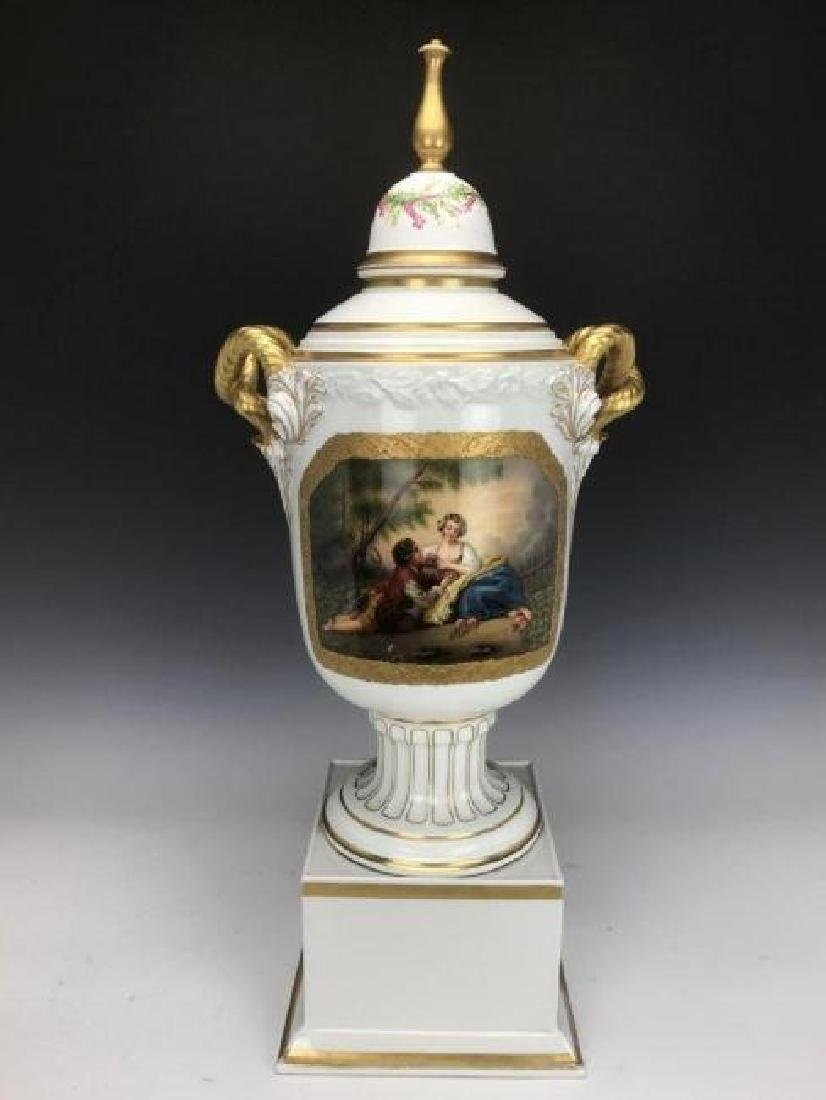 A LARGE 19TH C. GERMAN PORCELAIN VASE AND COVER