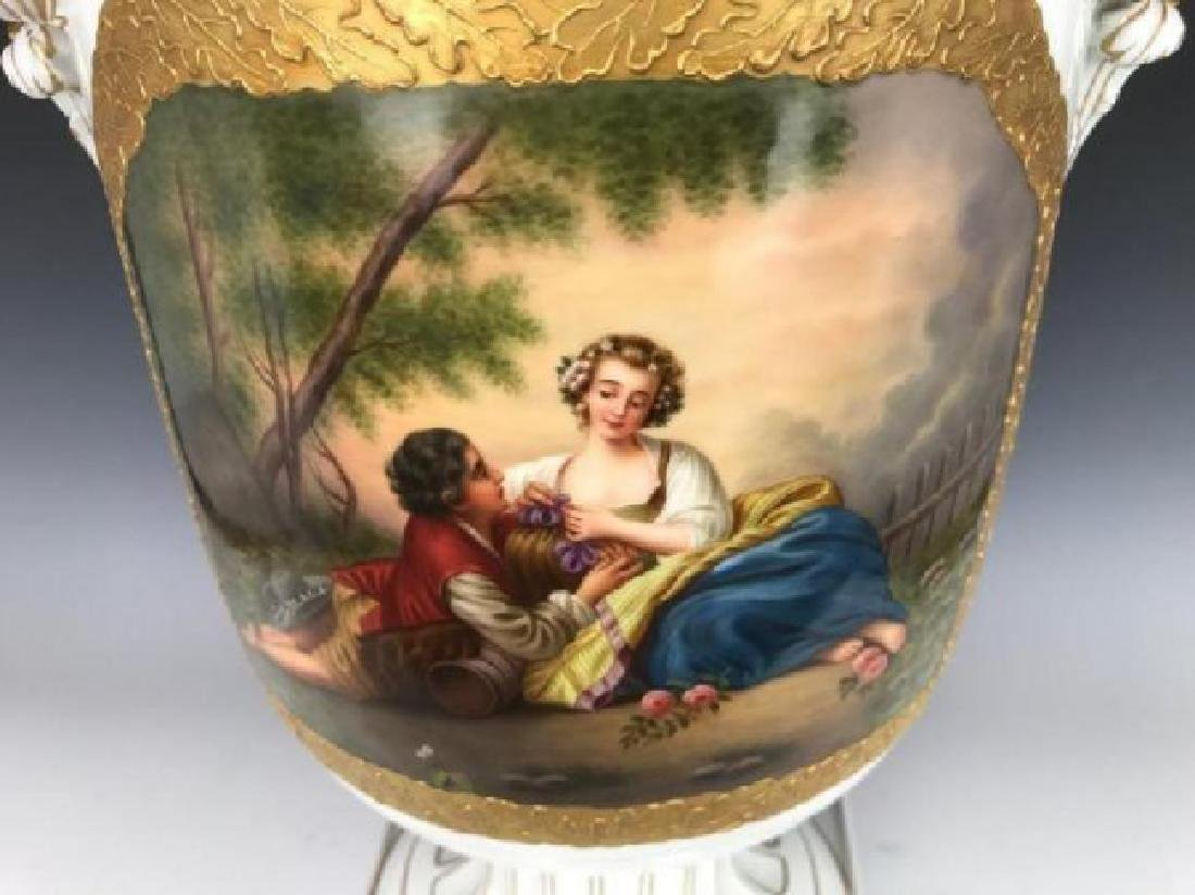 A LARGE 19TH C. GERMAN PORCELAIN VASE AND COVER - 3