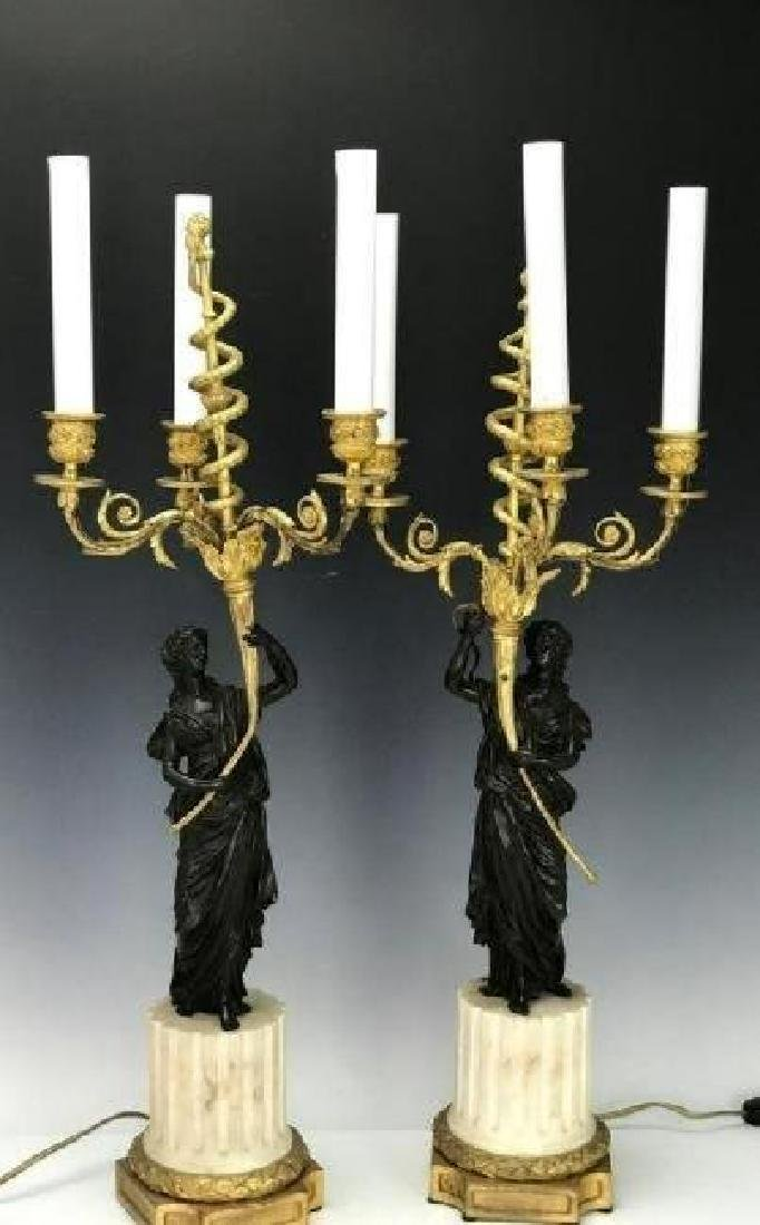 VERY FINE PAIR OF BRONZE AND MARBLE CANDELABRA
