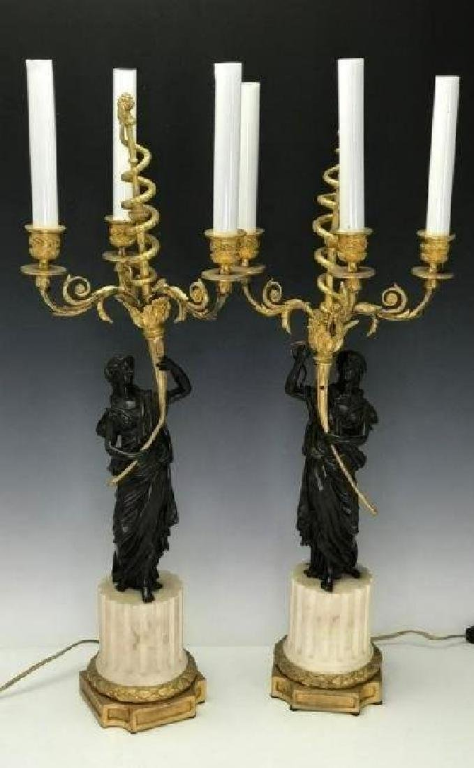 VERY FINE PAIR OF BRONZE AND MARBLE CANDELABRA - 3