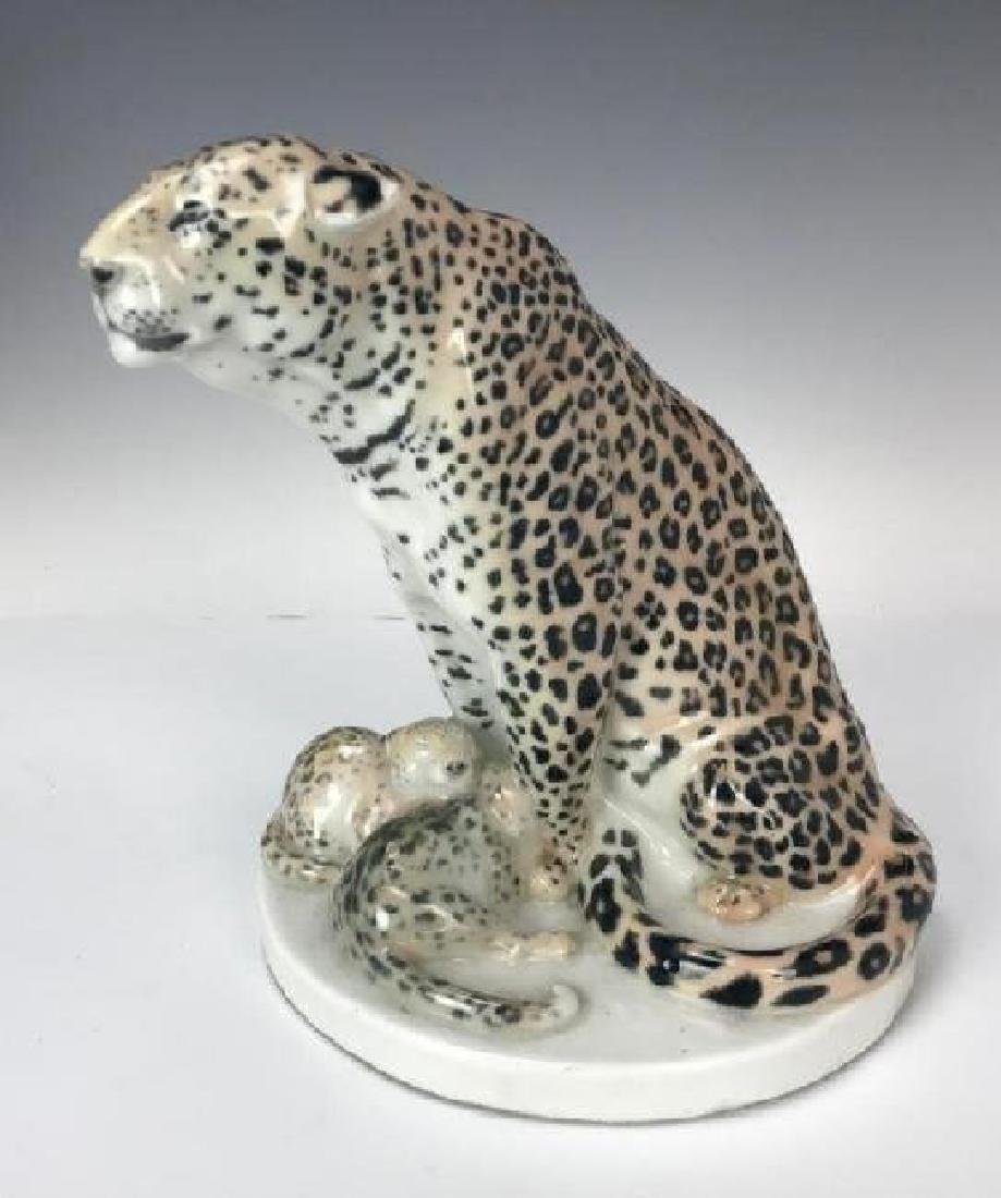 A LARGE MEISSEN LEOPARD AND CUBS SIGNED PILZ