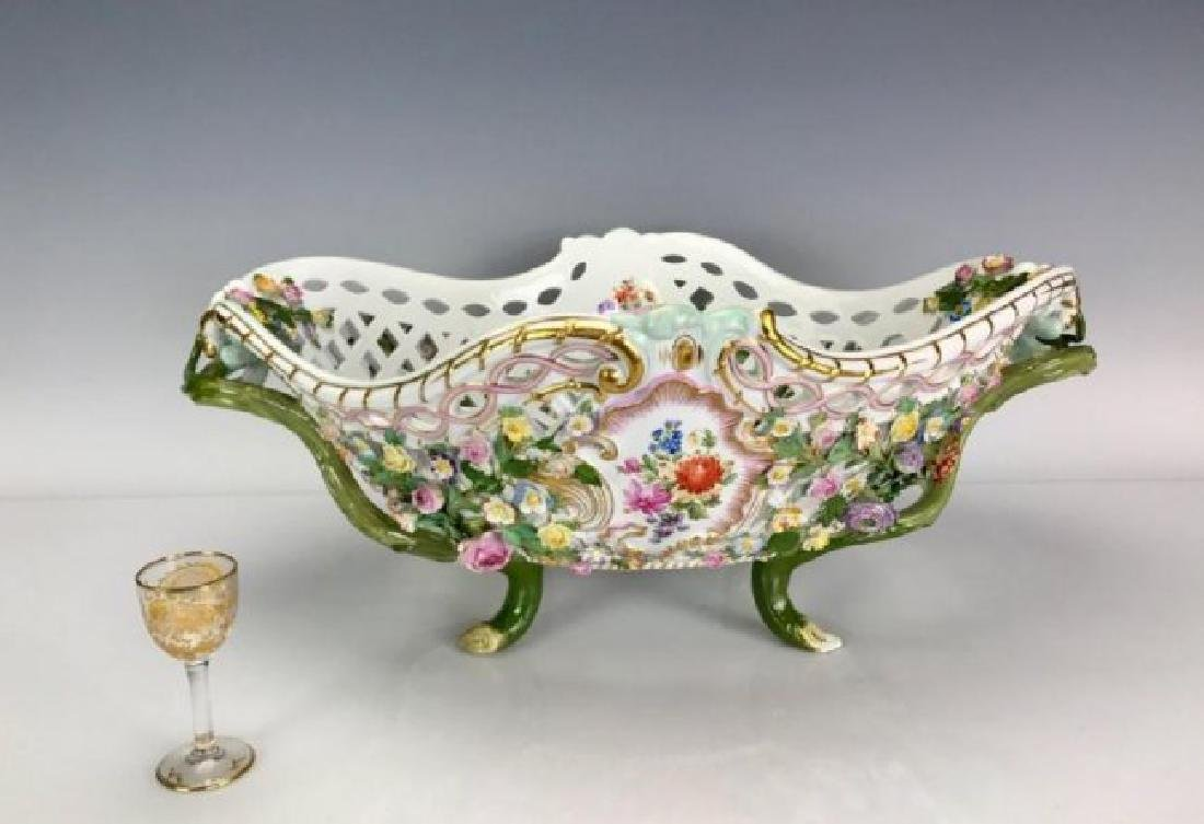 "VERY LARGE 19TH C. MEISSEN BASKET 20"" LONG"