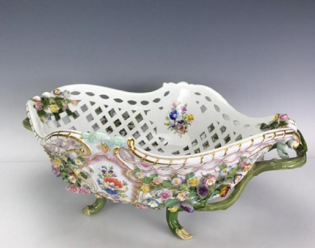"VERY LARGE 19TH C. MEISSEN BASKET 20"" LONG - 2"