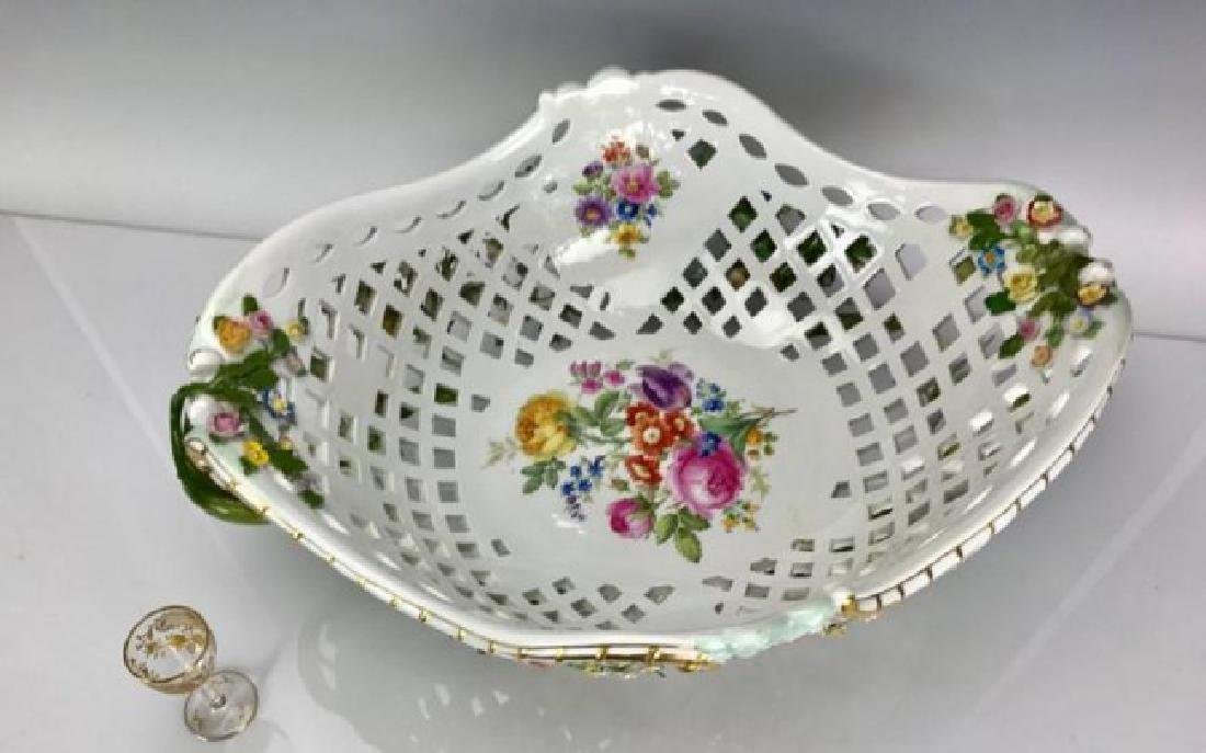 "VERY LARGE 19TH C. MEISSEN BASKET 20"" LONG - 3"
